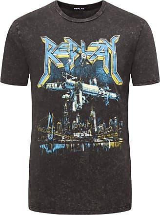 Replay Übergröße : Replay, T-Shirt mit modischem Logo-Print in Anthrazit für Herren