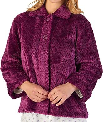 Slenderella Ladies Waffle Flannel Fleece Bed Jacket Button Up Traditional House Coat Medium (Purple)
