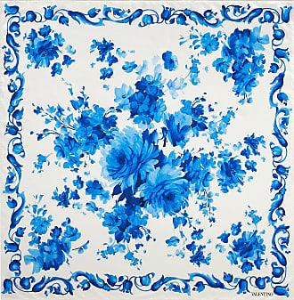 Valentino Garavani Valentino Garavani Flower Print Silk Twill Foulard 90x90 Cm / 35.4x35.4 In. Women Fjord Silk 100% OneSize