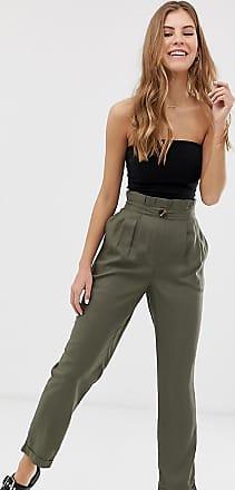 Pimkie paper bag waist trousers in green-Black