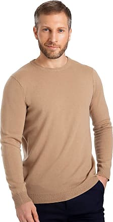 WoolOvers Mens Cashmere and Merino Crew Neck Knitted Jumper Camel, XXL