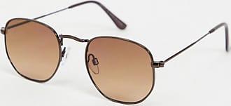 River Island hexagon sunglasses in brown