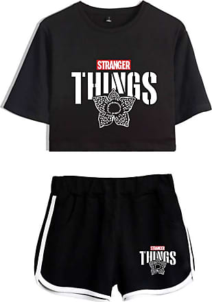 OLIPHEE Girls Stranger Things New Season Character Printed Tracksuits Casual Summer Crop Tops and Shorts T-Shirt Suits Things Flower, XS, Black 2