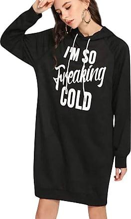 Dresswel Im So Freaking Cold Women Long Hoodies Sweatshirt Long Sleeve Pullover Hooded Jumper Dress Black