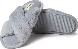 Dearfoams Womens Jessica Furry Crossband Slide Slipper, Sleet, Medium