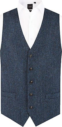Dobell Scottish Harris Tweed Mens Blue & Black Herringbone Tweed Waistcoat Regular Fit-2XL (50-52in)