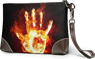 GLGFashion Womens Leather Wristlet Clutch Wallet Fire Palm Storage Purse With Strap Zipper Pouch