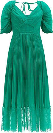 Self Portrait Self-portrait - Pleated-chiffon Midi Dress - Womens - Green