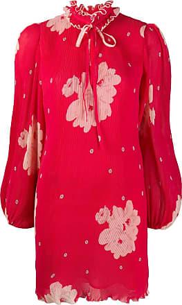 Ganni Vestido com pregas - Vermelho