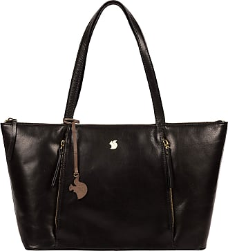 Pure Luxuries London Conkca London Clover Womens 44cm Biodegradable Leather Tote Bag with Zip Over Top, 100% Cotton Lining and Matching Leather Handles in Black B173