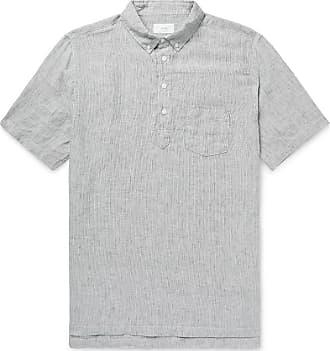Onia Josh Button-down Collar Striped Slub Linen Half-placket Shirt - Gray