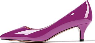 EDEFS Womens Pointed Toe Mid Heel Court Shoes Slip On Classic Office Dress Pumps Purple EU39