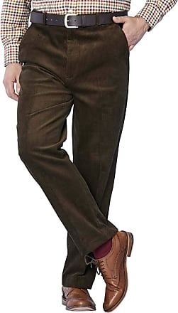 Chums Mens Corduroy Cotton Trouser Pants with Hidden Extra Waistband Brown 42W / 31L