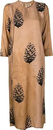 Uma Wang embroidered wrap midi dress - Brown