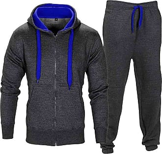 Noroze Mens Contrast String Hoodie Top Bottoms Tracksuit Charcoal/Blue XXL (16)