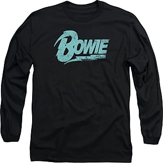 Popfunk David Bowie Logo Unisex Adult Long-Sleeve T Shirt for Men and Women Black