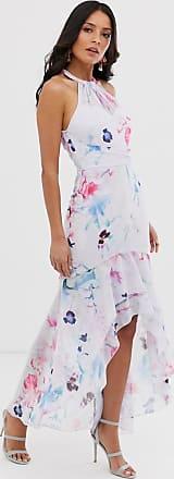 Lipsy Vestito lungo allacciato al collo con volant a fiori multi-Multicolore