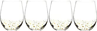 Cathy's Concepts GD1120-4 Personalized Gold Dotted Stemless Wine Glass, Clear/Gold