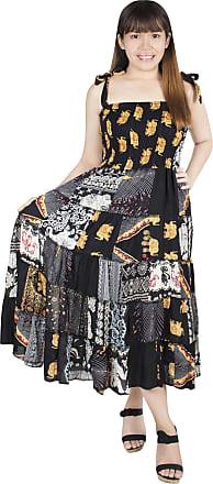 Lofbaz Womens Patchwork Dress Soft Lightweight Rayon Comfortable Summer Dresses - Black - OS