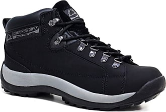 Groundwork Mens Leather Uppers Smart/Casual Lace up Steel Toe Cap Safety Boots (UK11, 387 Black)