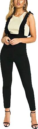 Islander Fashions Womens Pinafore Strap Frill Ruffle Dogs Black Print Bodycon Party Jumpsuit (Black Print UK 10)