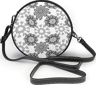 Turfed Madala Pattern Print Round Crossbody Bags Women Shoulder Bag Adjustable PU Leather Chain Strap and Top Zipper Small Handbag Handle Tote