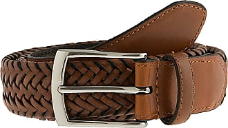 Dents Plaited leather belt (Tan, Extra Large)