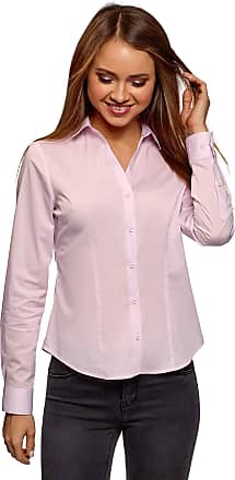 oodji Womens Basic V-Neck Shirt, Pink, UK 14 / EU 44 / XL