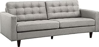 ModWay Modway Empress Mid-Century Modern Upholstered Fabric Sofa In Light Gray