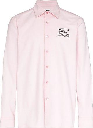 Raf Simons Camisa slim de algodão com bordado - Rosa