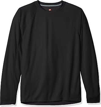 Hanes Mens Sport X-Temp Performance Long-Sleeve Training Tee, Black, L