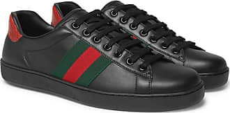 Gucci Ace Leather Snake trimmed SneakersBlack PuTkZiOX