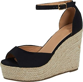 Lora Dora Womens Strappy Hessian Wedge Sandals Black UK 3