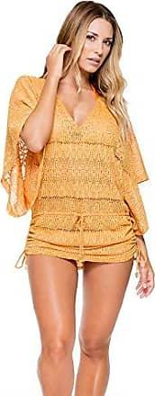 Luli Fama Womens Obsession Cabana V-Neck Dress Cover Up, Cuban Sunset, S