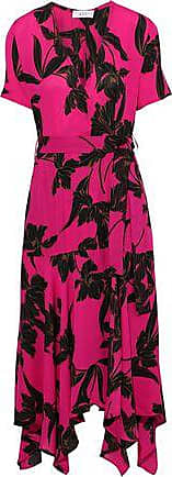 A.L.C. A.l.c. Woman Cora Printed Silk Crepe De Chine Midi Wrap Dress Bright Pink Size 6