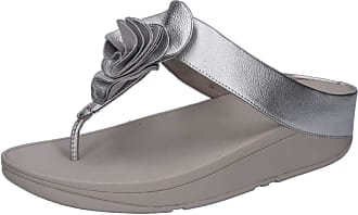 4dbec9e4be18 FitFlop Womens Florrie Toe-Post Thong Sandals Silver Size  7