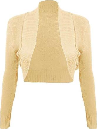Islander Fashions Womens Long Sleeve Plain Knitted Shrug Top Ladies Open Front Bolero Crop Cardigan Nude Large