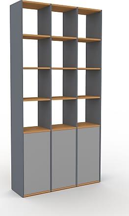 MYCS Bibliothèque - Anthracite, pièce de caractère, rangements raffiné, avec porte Gris - 118 x 233 x 35 cm, configurable