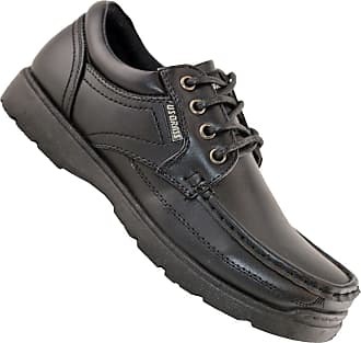 US Brass Boys Kids New Lace Up Back To School Hard Wearing Formal Black Shoes Size 13-6 - Black - UK 1