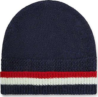 Thom Browne Striped Shetland Wool Beanie - Navy