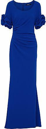 Badgley Mischka Badgley Mischka Woman Ruffled Fluted Crepe Gown Cobalt Blue Size 0