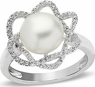 cab1e7e6f0c442 Zales 9.0 - 10.0mm Cultured Freshwater Pearl and Diamond Accent Ring in  Sterling Silver