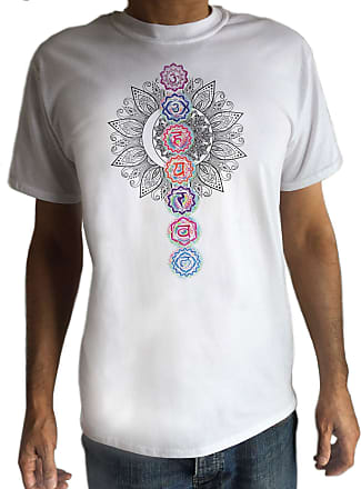 Irony Mens White T-Shirt Buddha Coloured Chakra Symbols Colourful Glow Symbols Design TS767 (XLarge)