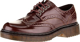 oodji Collection Womens Faux Leather Oxford Shoes, Brown, 4 UK