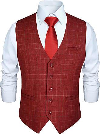 Hisdern Mens Formal Wedding Party Waistcoat Cotton Plaid Check Dress Suit Vest, Burgundy, 4XL(Chest 56)