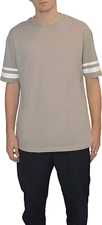 White Label Topman Mens Beige Taupe Drop Shoulder T Shirt White Stripe on Sleeve Size X-Large