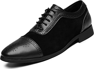 LanFengeu Men Brogue Shoes Breathable Anti Slip Lace up Derbys Male Pointed Toe Wedding Office Formal Leather Shoes Black