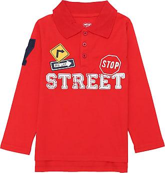 Tip Top Camisa Polo Tip Top Infantil Lettering Vermelha