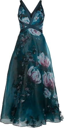 Marchesa v-neck floral print effect dress - Blue