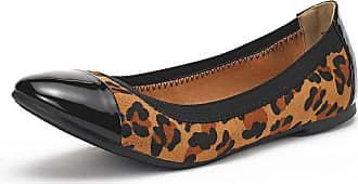 Dream Pairs Womens Sole-Flex Leopard Ballerina Walking Flats Shoes Size 7.5 US/ 5.5 UK